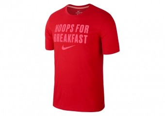 NIKE DRY 'HOOPS FOR BREAKFAST' BASKETBALL TEE UNIVERSITY RED