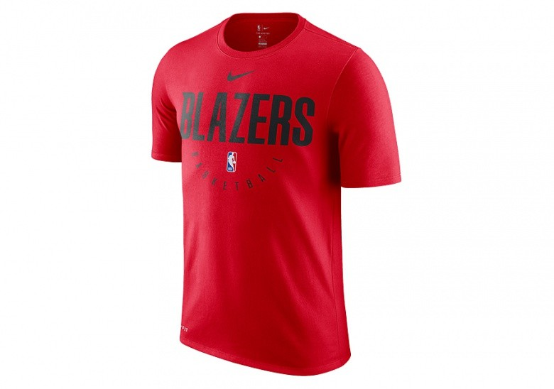 NIKE NBA PORTLAND TRAIL BLAZERS DRY TEE UNIVERSITY RED
