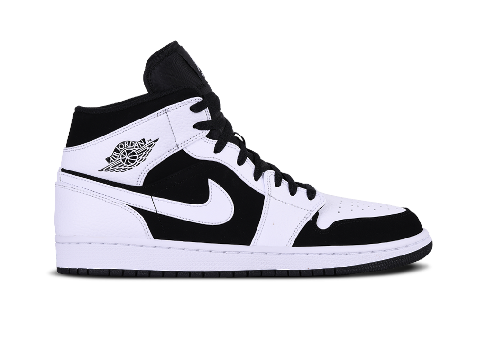 Air Jordan 1 mid GS White Black White 554725 113 Authentic