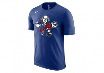 NIKE NBA PHILADELPHIA 76ERS DRY TEE RUSH BLUE