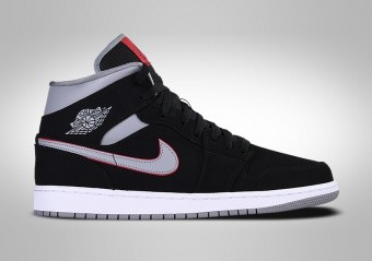 sneakers for cheap dac51 a11fd NIKE AIR JORDAN 1 RETRO MID BLACK GREY RED