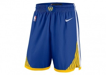 NIKE NBA GOLDEN STATE WARRIORS SWINGMAN ROAD SHORTS RUSH BLUE