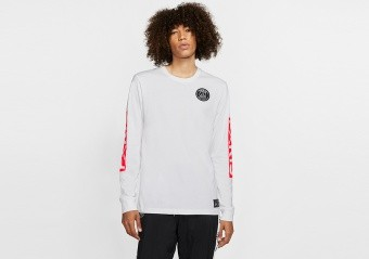 NIKE AIR JORDAN PSG PARIS SAINT-GERMAIN LONG SLEEVE TEE WHITE