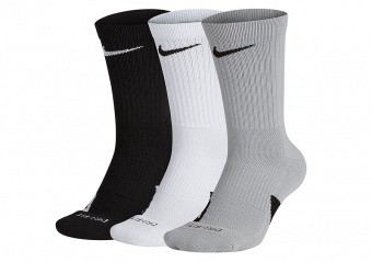 NIKE ELITE CREW 3PACK SOCKS GREY HEATHER