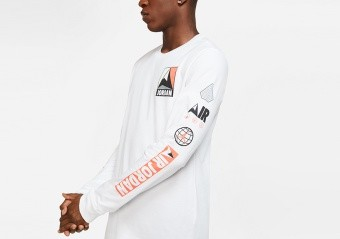 NIKE AIR JORDAN WINTER UTILITY MOUNTAINSIDE LONG-SLEEVE CREW TEE WHITE