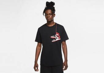 NIKE AIR JORDAN AJ1 SHOE CREW TEE BLACK