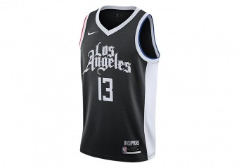 NIKE NBA LOS ANGELES CLIPPERS PAUL GEORGE CITY EDITION SWINGMAN JERSEY BLACK