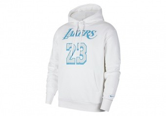 NIKE NBA LOS ANGELES LAKERS LEBRON JAMES CITY EDITION PULLOVER HOODIE WHITE