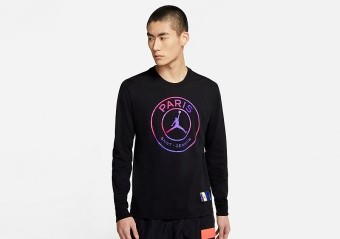 NIKE AIR JORDAN PSG PARIS SAINT-GERMAIN LONG-SLEEVE TEE BLACK