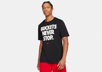NIKE 'BUCKETS NEVER STOP' DRI-FIT TEE BLACK