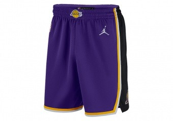 NIKE NBA LOS ANGELES LAKERS STATEMENT EDITION SWINGMAN SHORTS FIELD PURPLE